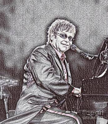 Elton John Drawing - Elton John Art by Pd