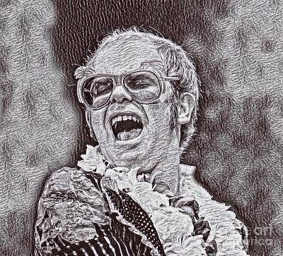 Elton John Drawing - Elton John Drawing by Pd