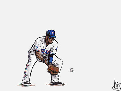 Mlb Drawing - Elvis Andrus by Joshua Sooter