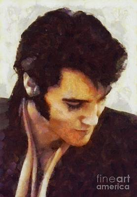 Rock And Roll Royalty-Free and Rights-Managed Images - Elvis Presley, Music Legend by Sarah Kirk