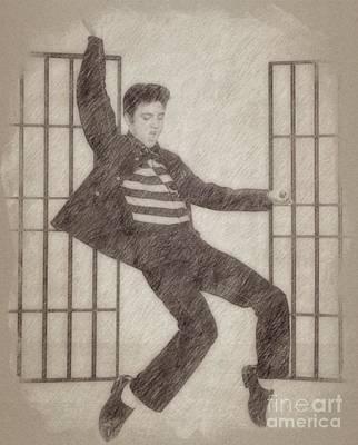 Fantasy Drawings - Elvis Presley, Singer by Frank Falcon