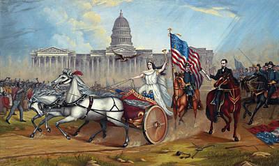 Folk Art Lincoln Painting - Emancipation Proclamation by A A Lamb