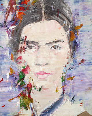 Art Print featuring the painting Emily Dickinson - Oil Portrait by Fabrizio Cassetta