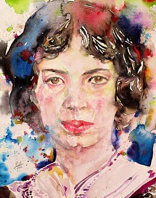 Painting - Emily Dickinson - Watercolor Portrait by Fabrizio Cassetta