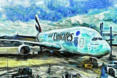 Photograph - Emirates A380 Airbus Van Gogh by David Pyatt