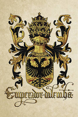 Emperor Of Germany Coat Of Arms - Livro Do Armeiro-mor Art Print by Serge Averbukh