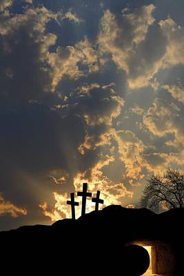 Photograph - Empty Tomb And Three Crosses by Colette Scharf