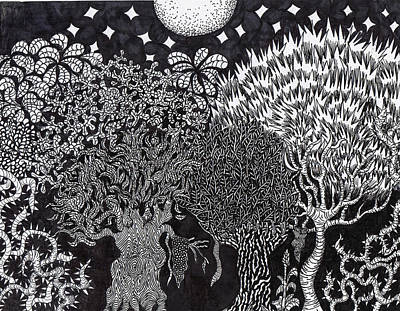 Sharpie Art Drawing - Enchanted Forest by Jesse Apple