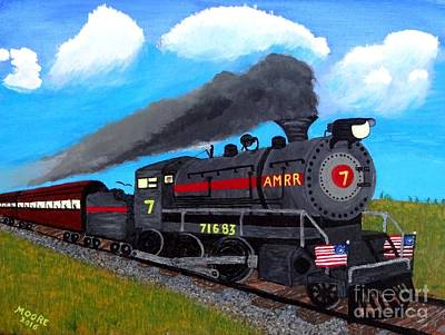 Train Painting - Engine #7 by Michael Moore