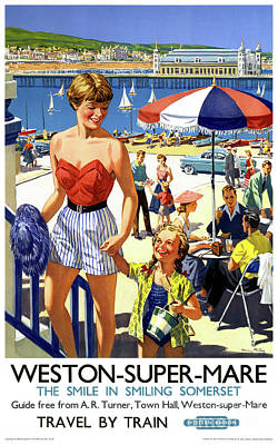 Drawing - England Weston Super Mare Vintage Travel Poster by Carsten Reisinger