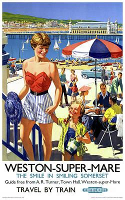 Drawing - England Weston Super Mare Vintage Travel Poster by Carsten Reisinger