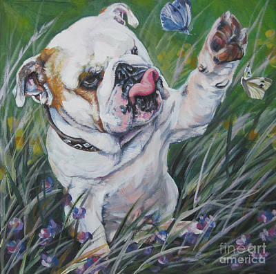 Puppies Painting - English Bulldog by Lee Ann Shepard