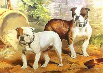 Digital Art - English Bulldogs by Charmaine Zoe