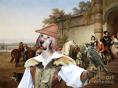 Painting - English Setter Art Canvas Print -  Ready To Ride Out by Sandra Sij