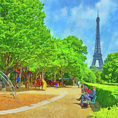Digital Art -  Enjoying The Champ De Mars Near The Eiffel Tower by Digital Photographic Arts