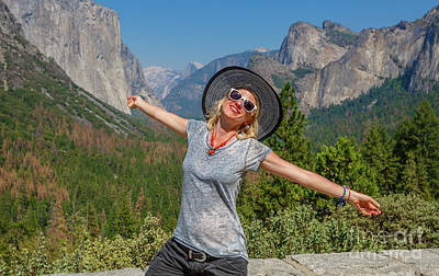 Photograph - Enjoying Tunnerl View Yosemite by Benny Marty