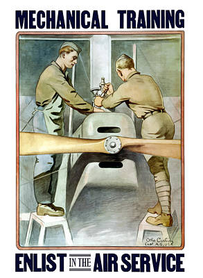 Political Art Painting - Mechanical Training - Enlist In The Air Service by War Is Hell Store