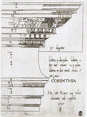 Temple Of Castor And Pollux Drawing - Entablature From The Temple Of Castor And Pollux, Rome by Master PS