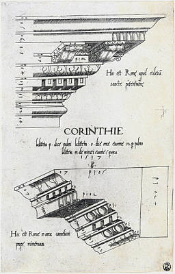 Drawing -  Entablatures From Santa Pudenziana And The Arch Of Camigliano, Rome by Master PS