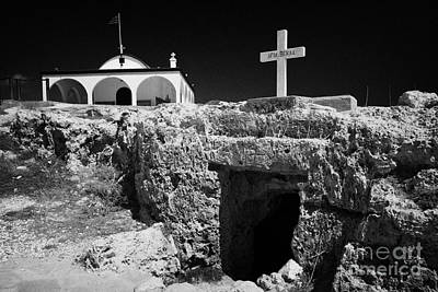 Entrance To The Underground Old Church At Ayia Thekla Republic Of Cyprus Europe Print by Joe Fox