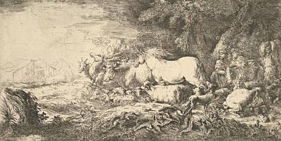 Relief - Entry Of The Animals Into Noah's Ark by Giovanni Benedetto Castiglione