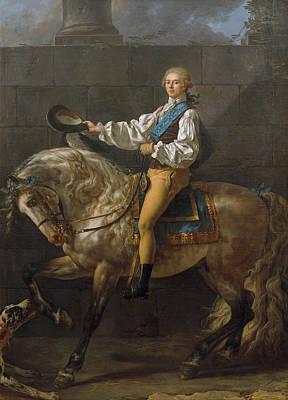 Horseback Painting - Equestrian Portrait Of Stanislaw Kostka Potocki by Jacques-Louis David