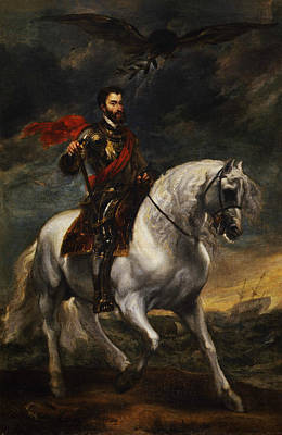 Netherlands Painting - Equestrian Portrait Of The Emperor Charles V by Anthony van Dyck