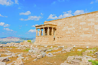 Photograph - Erechtheion Temple On Acropolis Hill, Athens Greece. by Marek Poplawski