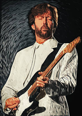 Yardbirds Digital Art - Eric Clapton by Taylan Apukovska