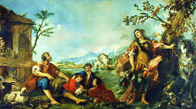 Painting - Erminia And The Shepherds by Gian Antonio Guardi and Francesco Guardi