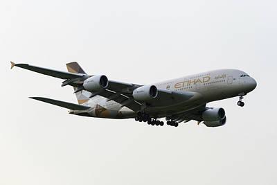 Photograph - Etihad Airbus A380 by David Pyatt