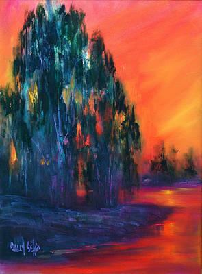 Eucalyptus Sunset Art Print by Sally Seago
