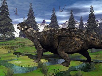 Pop Art Rights Managed Images - Euoplocephalus dinosaur - 3D render Royalty-Free Image by Elenarts - Elena Duvernay Digital Art