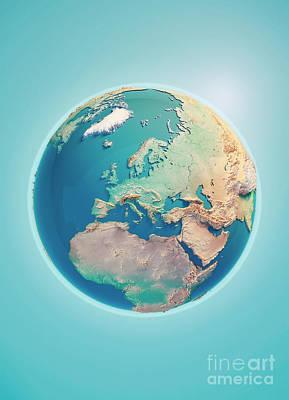 Europe 3d Render Planet Earth Art Print by Frank Ramspott