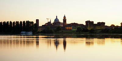 Photograph - Europe Italy Mantova-mantua Ancient Castle At The River Reflecti by Alfio Finocchiaro