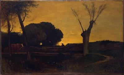 Evening At Medfield Massachusetts Art Print by George Inness