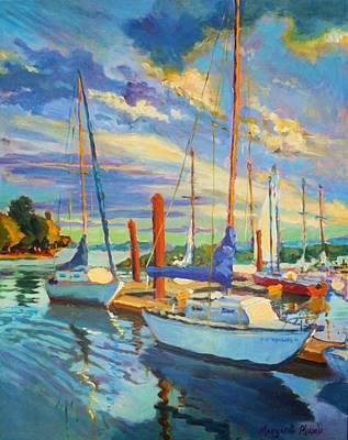 Evening At The Marina Art Print by Margaret  Plumb