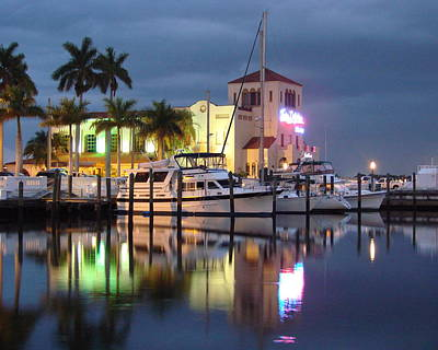 Evening At The Twin Dolphin Marina Art Print by Kimberly Camacho