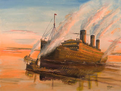 Steam Ships Painting - Evening Departure by Christopher Jenkins