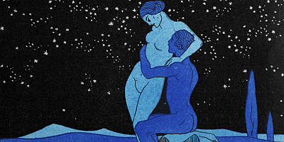 Nudes Drawing - Evening by Georges Barbier