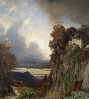 Painting - Evening Mood At The Rhine River by Albert Flamm
