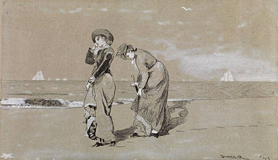 Winslow Homer Drawing - Evening On The Beach by Winslow Homer