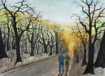 Painting - Evening Stroll by Jack G Brauer