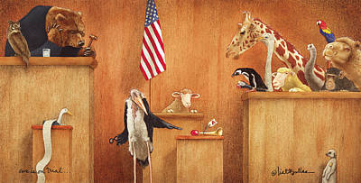 Stork Painting - Ewe Is On Trial... by Will Bullas