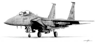 Eagle Drawing Drawing - F-15e Strike Eagle by Dale Jackson