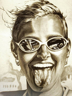 Colored Pencil Portrait Drawing - Fabulous by Dennis Rennock