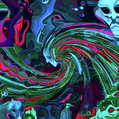 Digital Art - Faces Blue Shade by Adria Trail