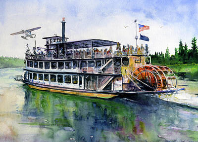 Painting - Fairbanks Paddle Wheel by John D Benson