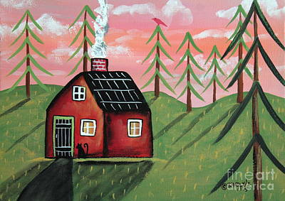 Folk Art Painting - Fall Cabin by Karla Gerard