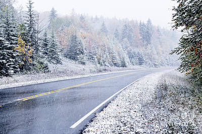 Popstar And Musician Paintings - Fall color and Snow along the Highland Scenic Highway by Thomas R Fletcher